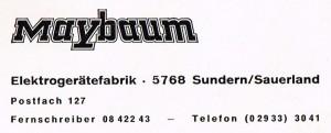 MAYBAUM Elektrogerätefabrik - Firmenanschrift